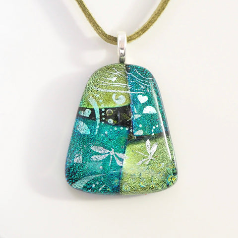 Emerald and lime green dichroic glass pendant - Fired Creations