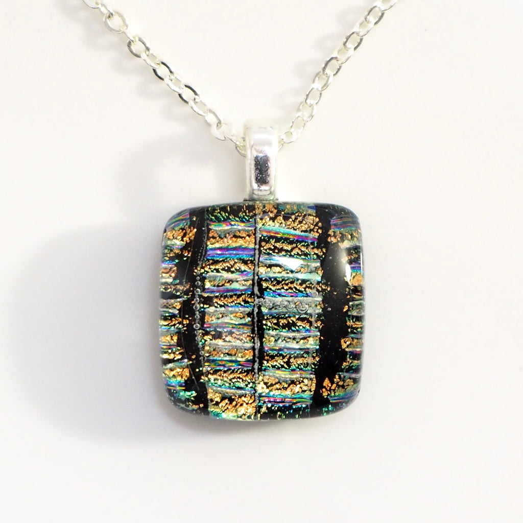 Gold and black dichroic glass mini pendant - Fired Creations