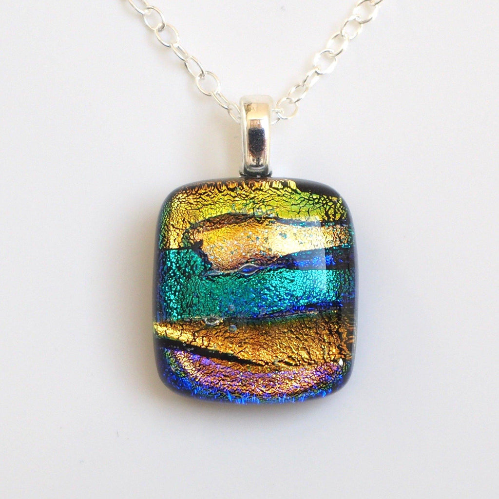 Gold and teal fused dichroic glass necklace - Fired Creations