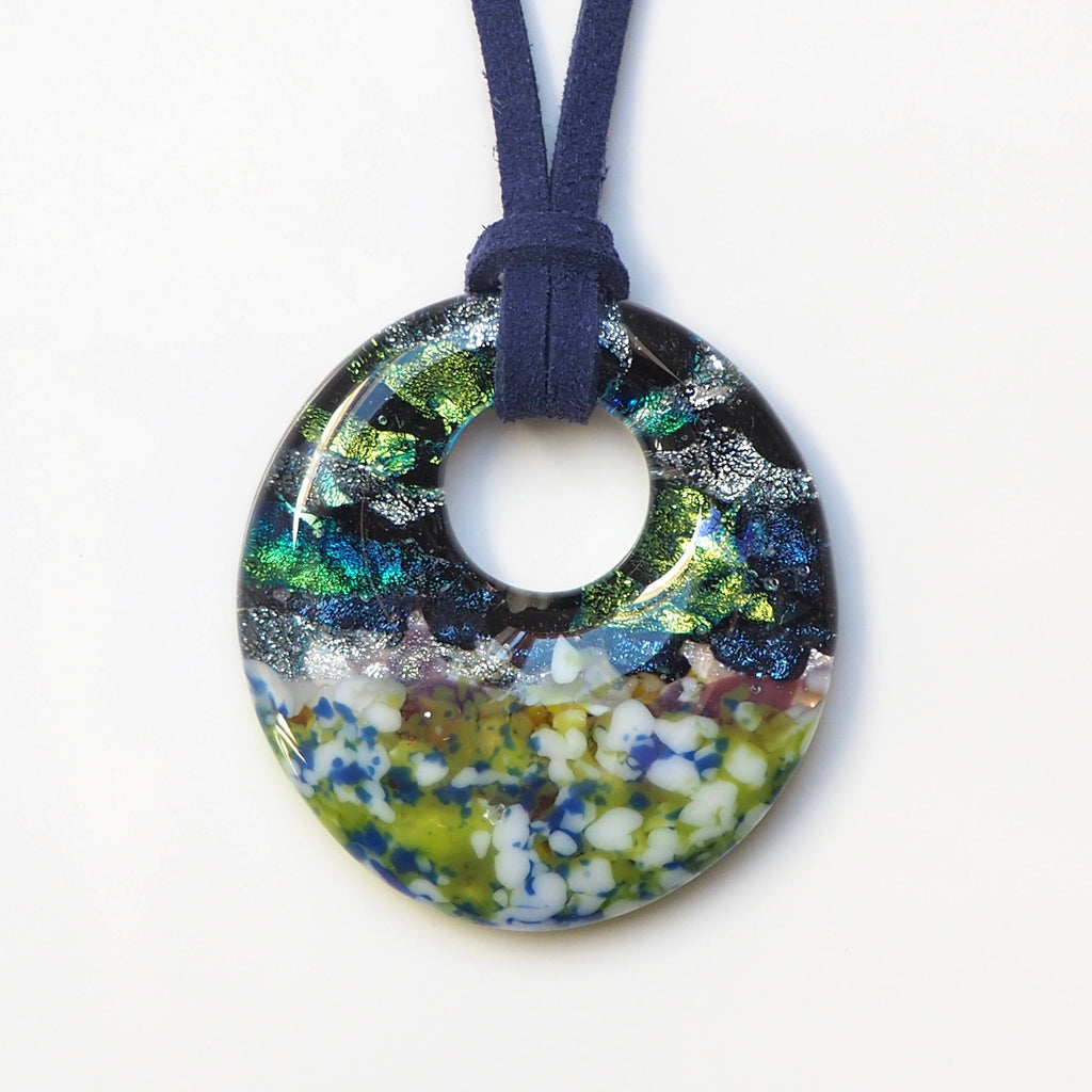 Green blue fused glass doughnut pendant - Fired Creations