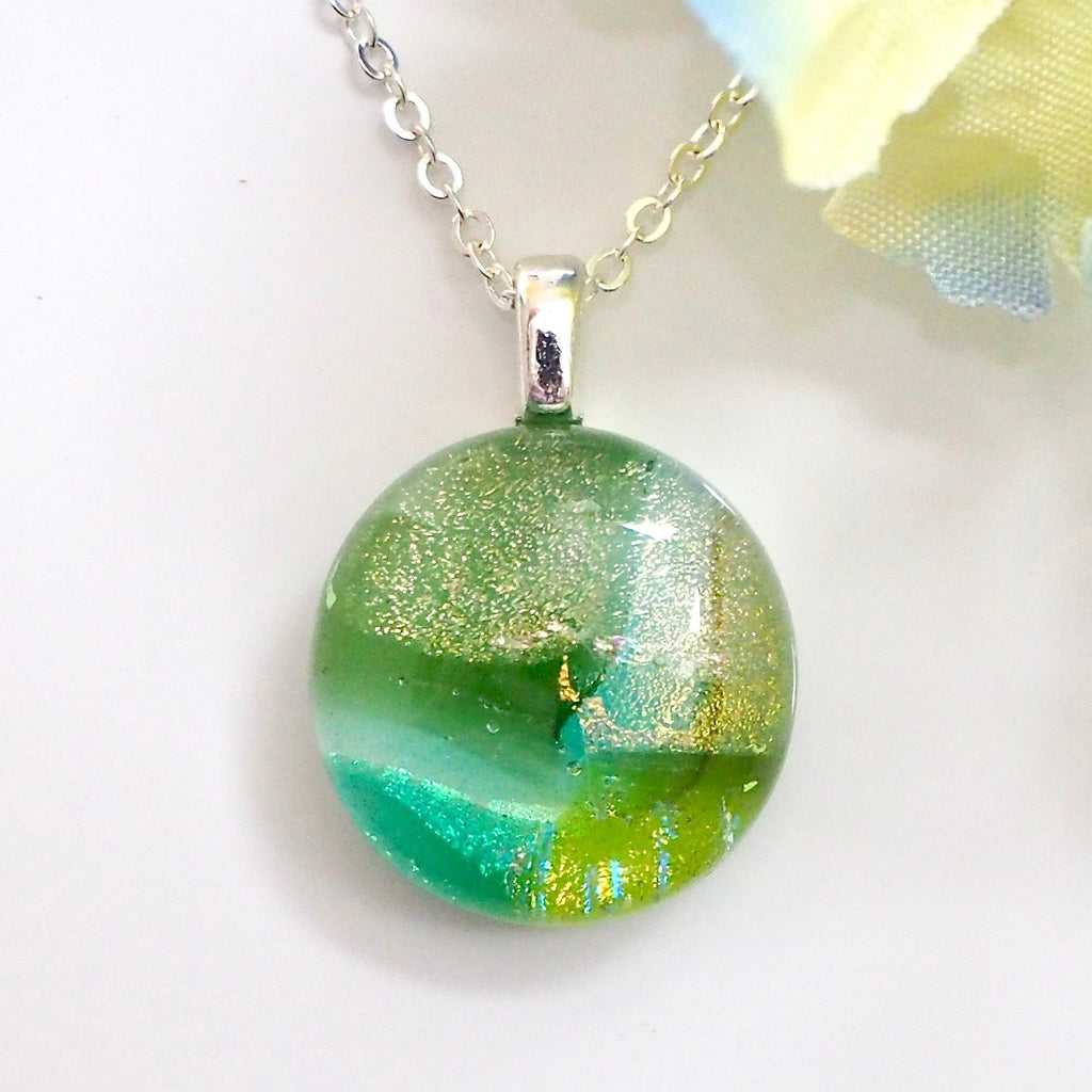 Green glass pendant necklace - Fired Creations