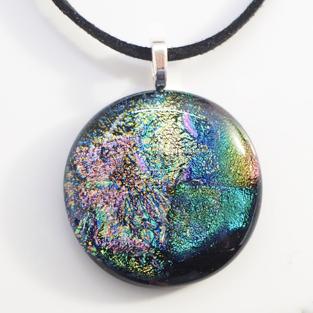 Pendant - Green Pink Abstract Round Fused Dichroic Glass Pendant