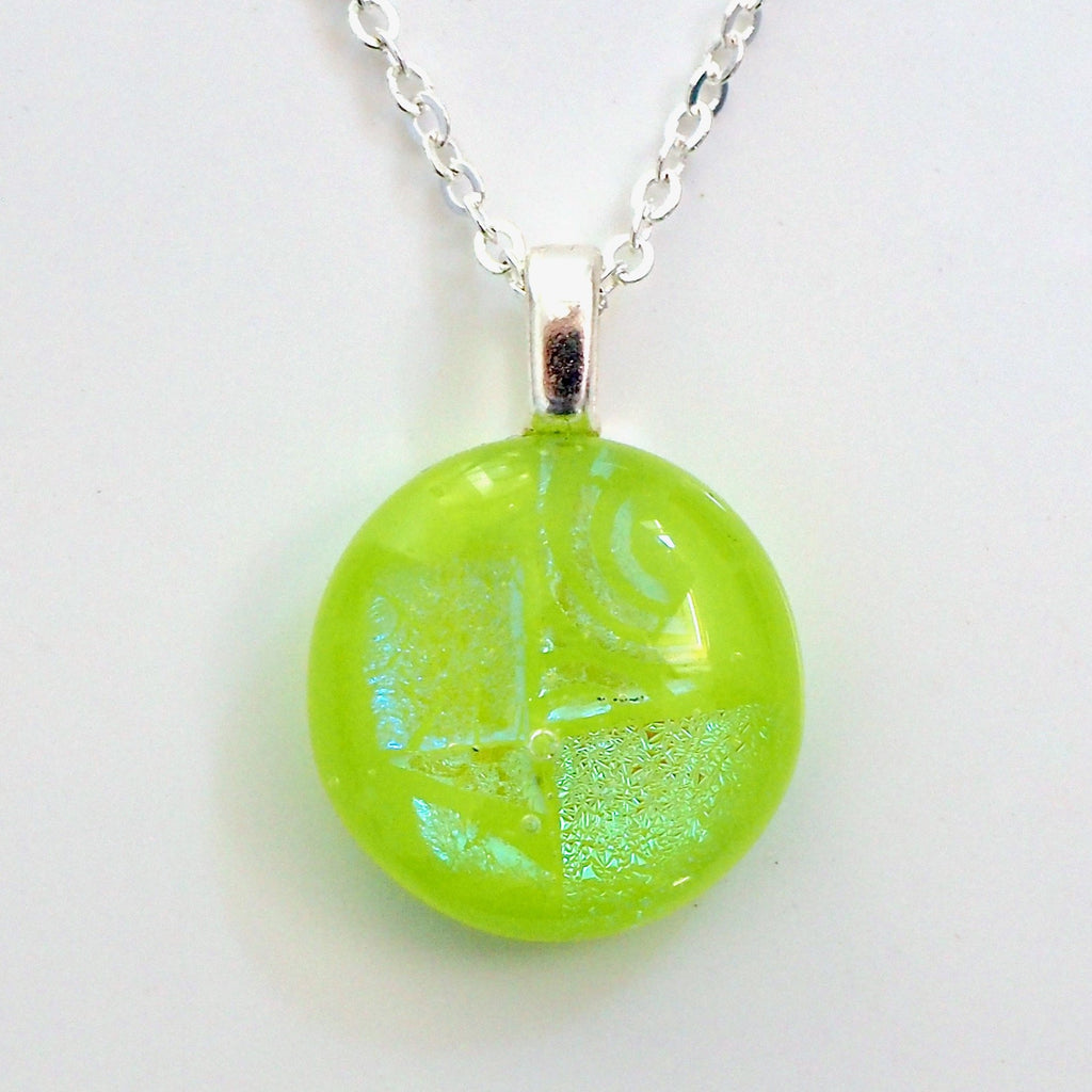 Lime green round fused glass pendant - Fired Creations