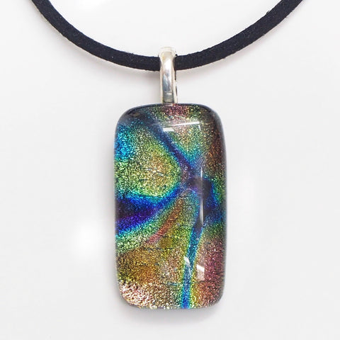 Olive green and blue dichroic glass necklace - Fired Creations