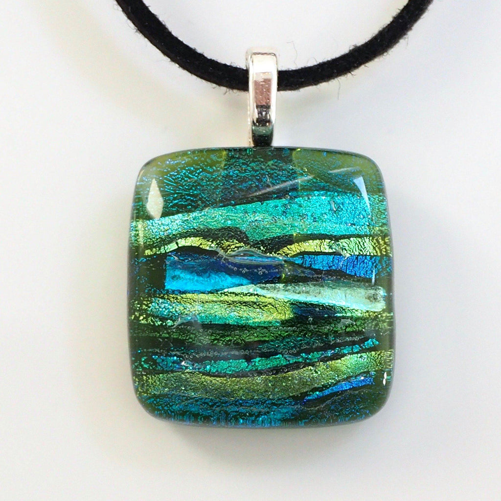 Olive, teal and lime green fused glass necklace - Fired Creations