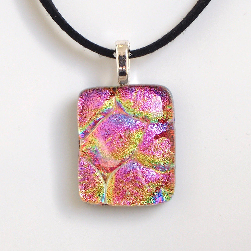 Pink and gold fused glass necklace - Fired Creations