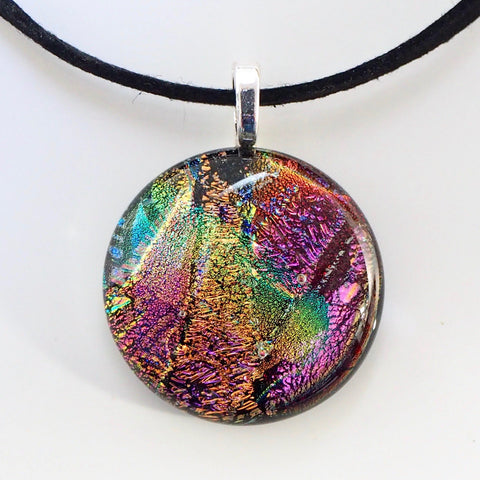 Pink and gold round fused dichroic glass pendant - Fired Creations