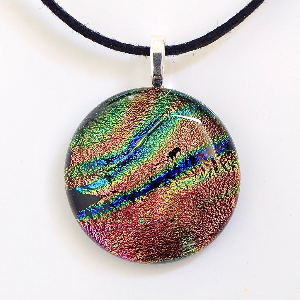 Pink blue lime round fused glass pendant - Fired Creations