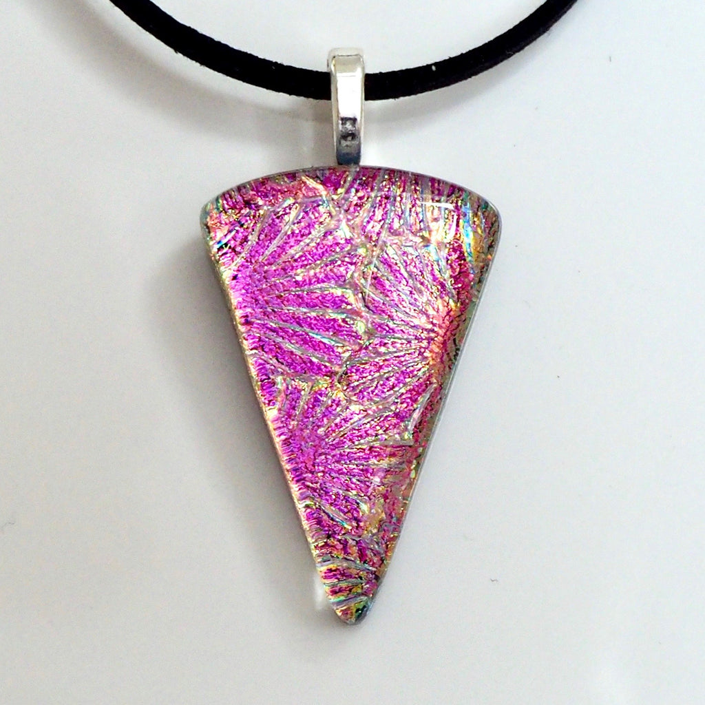 Pink wedge shaped glass pendant necklace - Fired Creations