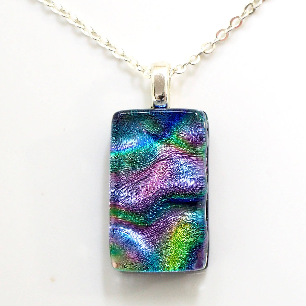 Purple dichroic glass pendant - Fired Creations