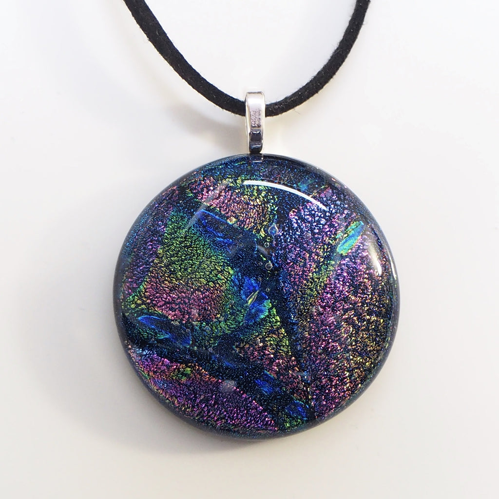 Pendant - Purple Green And Navy Blue Round Fused Dichroic Glass Pendant