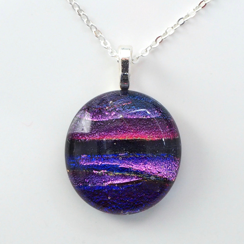 Pendant - Purple Round Fused Glass Necklace