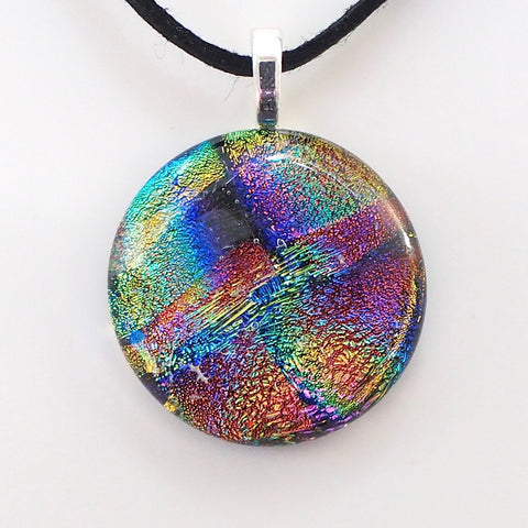 Rainbow colours round fused glass pendant - Fired Creations