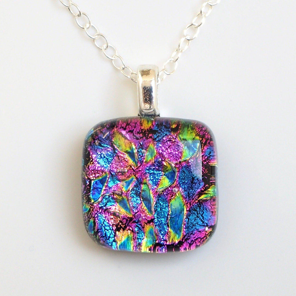 Rainbow dichroic glass necklace - Fired Creations