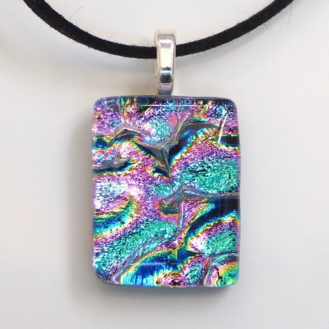 Rainbow fused glass pendant necklace - Fired Creations