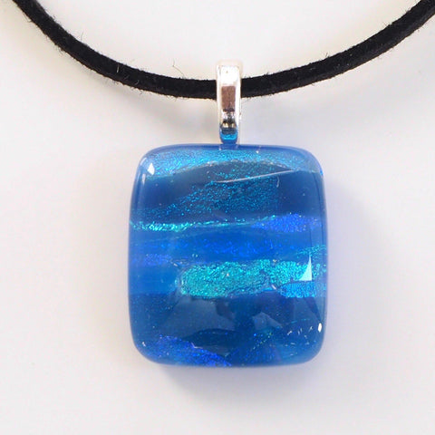 Pendant - Royal Blue And Sea Blue Fused Glass Necklace