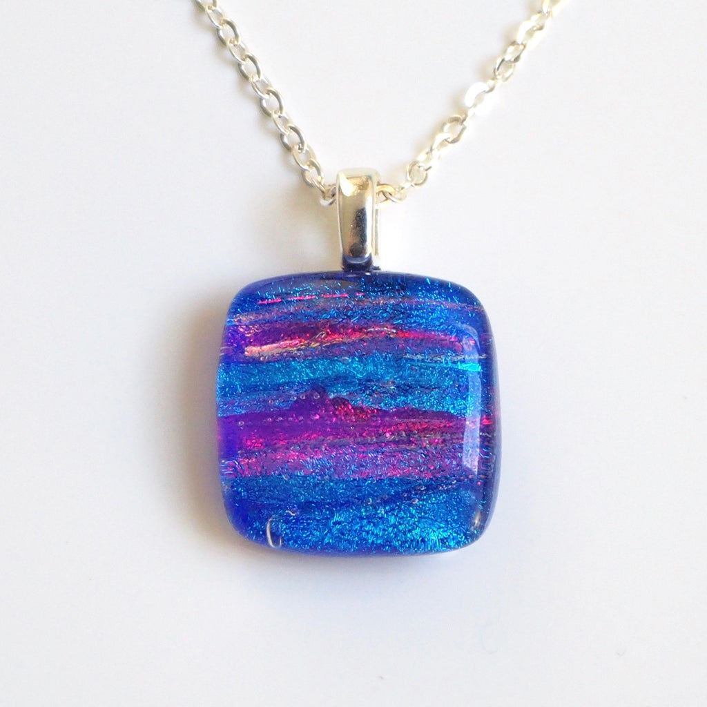 Pendant - Royal Blue Red Dichroic Glass Necklace