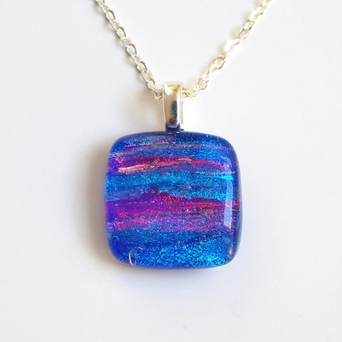 Royal blue red dichroic glass necklace - Fired Creations