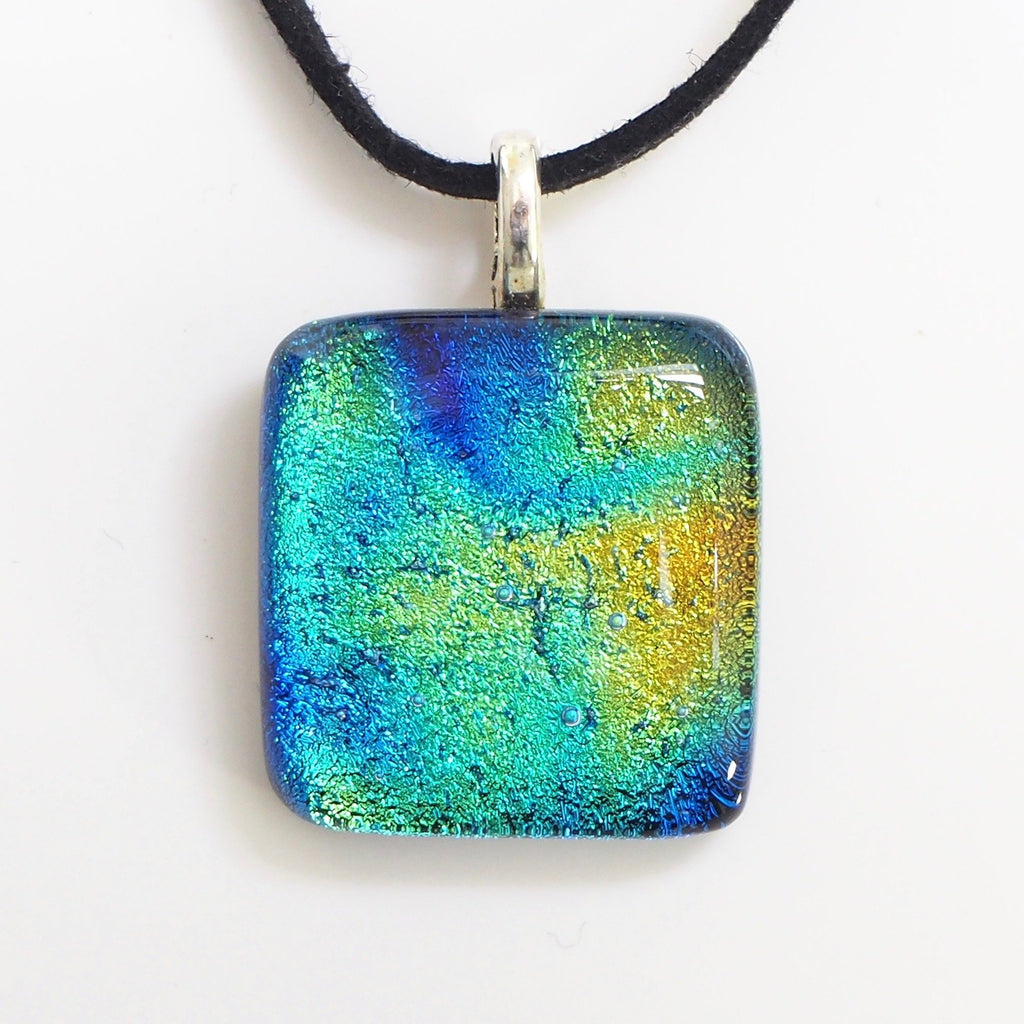 Pendant - Royal Blue Turquoise And Gold Dichroic Glass Pendant