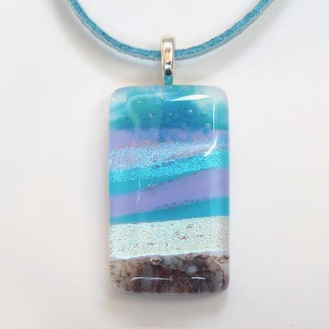 Seascape fused glass pendant necklace - Fired Creations