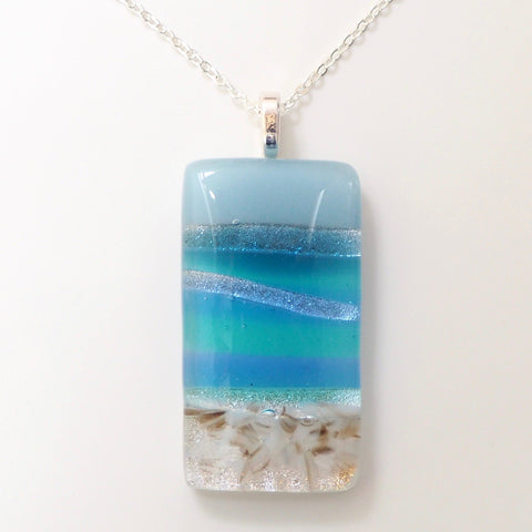 Seascape glass pendant - Fired Creations