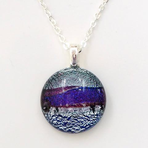 Silver and purple round fused glass pendant - Fired Creations