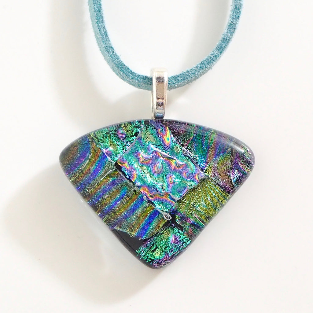 Turquoise and green fused dichroic glass pendant - Fired Creations