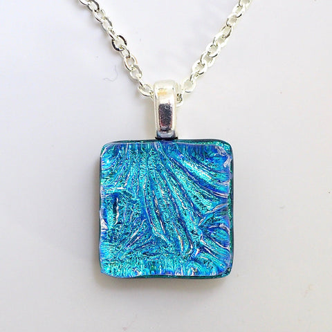 Turquoise square dichroic glass pendant - Fired Creations