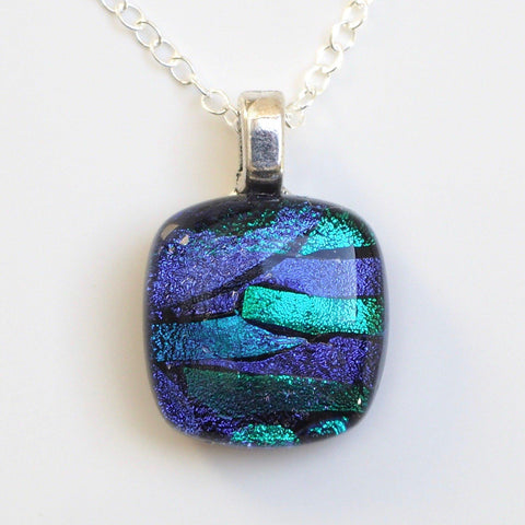 Pendant - Violet And Teal Dichroic Glass Necklace