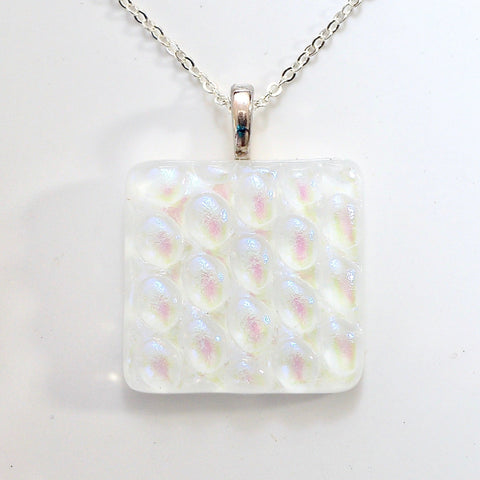 Pendant - White Fused Glass Pendant Necklace