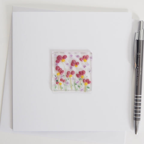 Pink And Yellow Flowers Glass Greetings Card