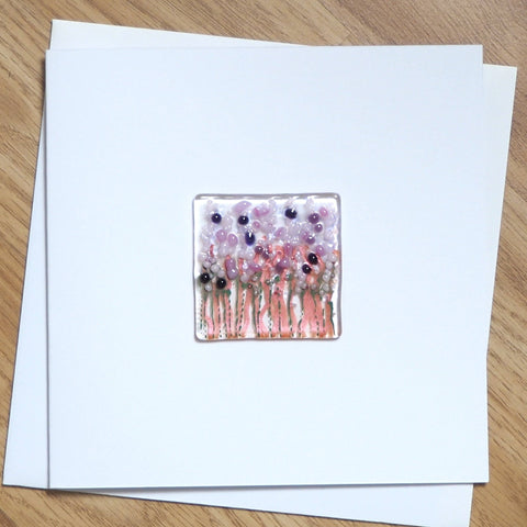 Pink Flowers Glass Greetings Card