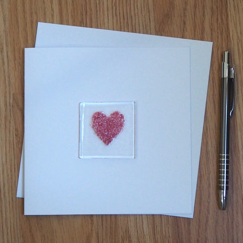 Pink Heart Fused Glass Greetings Card