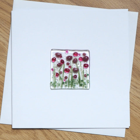 Plum Pink Flowers Glass Greetings Card