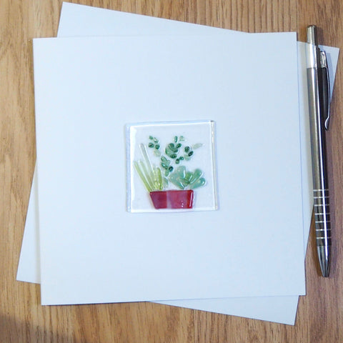 Potted plants fused glass greetings card - Fired Creations