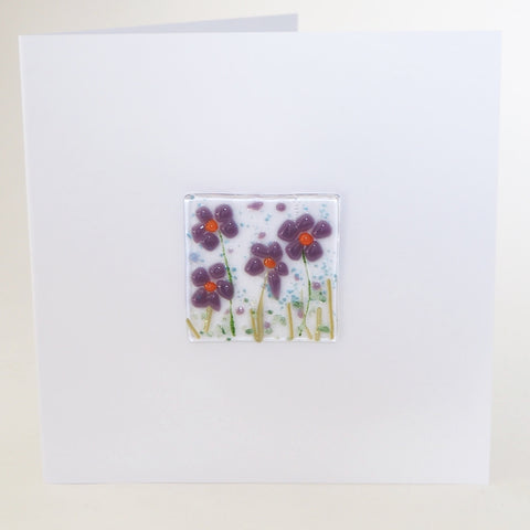Purple Daisy Flowers Glass Greetings Card