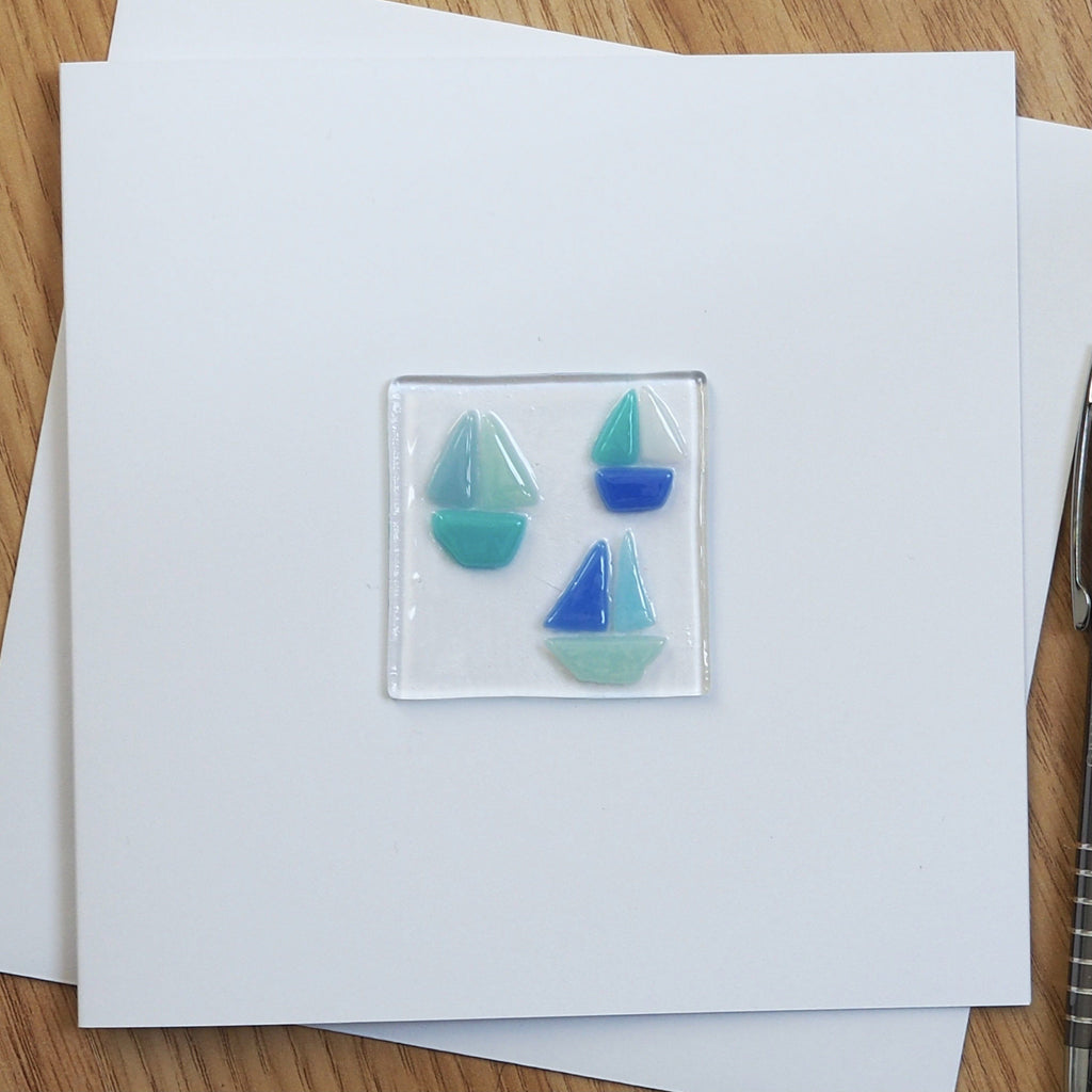 Sailing Boats Fused Glass Greetings Card