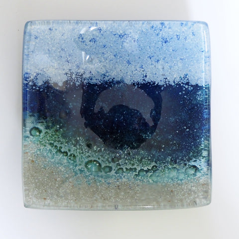 Seascape Beach Fused Glass Trinket Dish