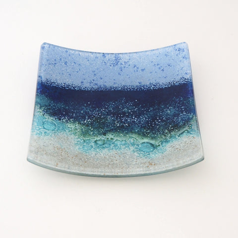 Seascape Fused Glass Dish Beach Scene - Medium