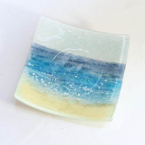 Seascape fused glass dish beach scene - medium - Fired Creations