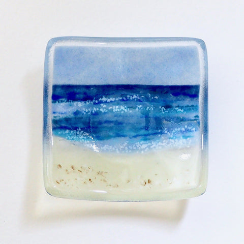 Seascape fused glass trinket dish votive candle ring holder - Fired Creations