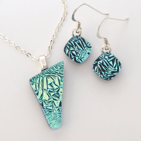 Sets - Aqua Crinkled Fused Dichroic Glass Pendant And Earrings Jewellery Set