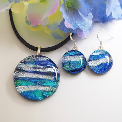 Blue and silver fused dichroic glass necklace and earrings set - Fired Creations
