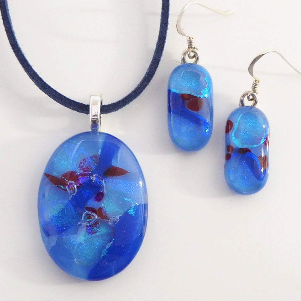 Blue fused dichroic glass pendant and earrings set - Fired Creations