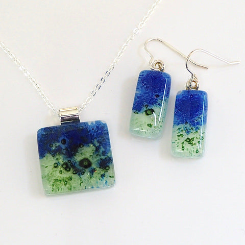 Blue green fused glass pendant and earrings jewellery set - Fired Creations