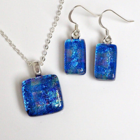 Blue squares pattern fused dichroic glass necklace and earrings jewellery set - Fired Creations