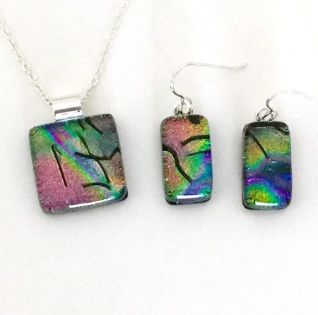 Rainbow fused dichroic glass necklace and earrings set - Fired Creations