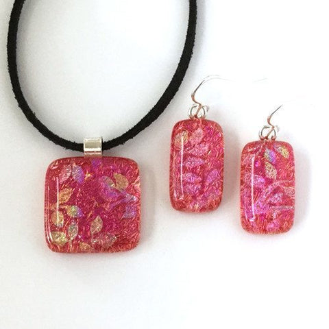 Coral pink fused dichroic glass pendant and earrings jewellery set - Fired Creations