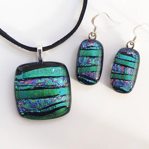Emerald turquoise fused dichroic glass pendant and earrings jewellery set - Fired Creations