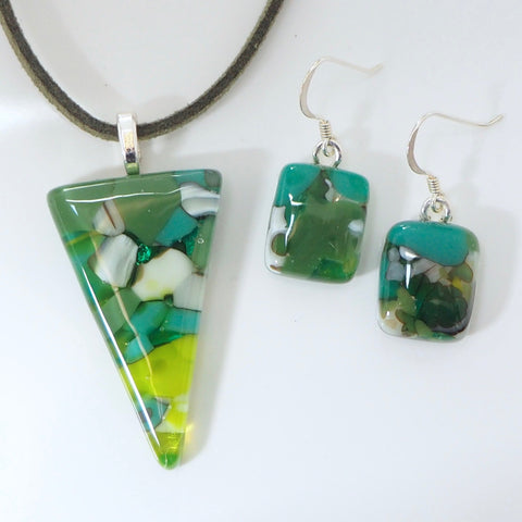 Green fused glass pendant and earrings jewellery set - Fired Creations